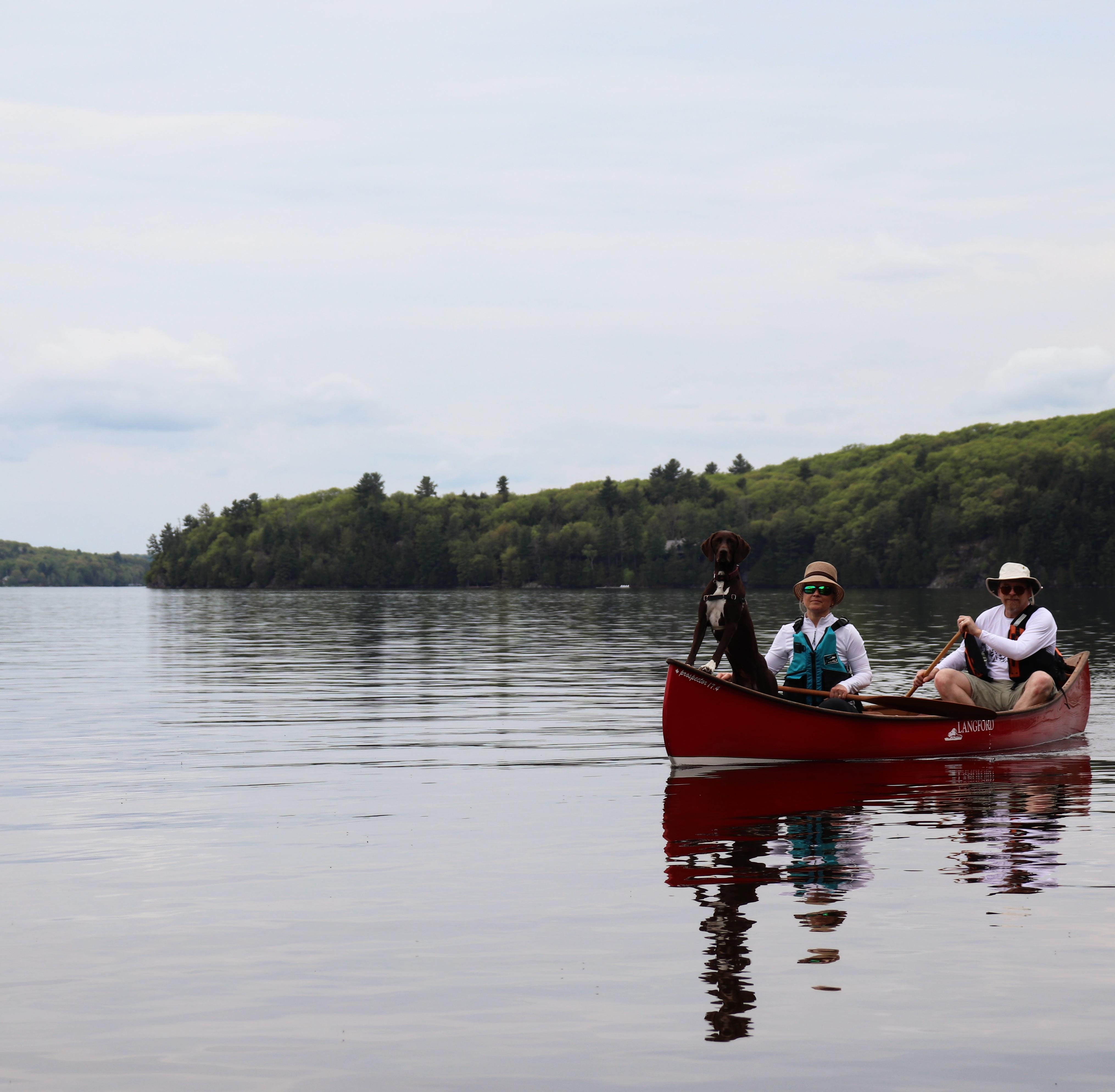 Langford Canoe canoeabc123 Red and White Prospector 17.4